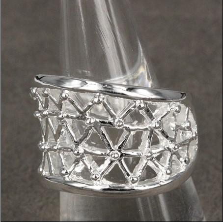 Hot New 925 Silver Smycken Partihandel Mode Ringar Hollow Gratis Frakt 10 Stame / Lot