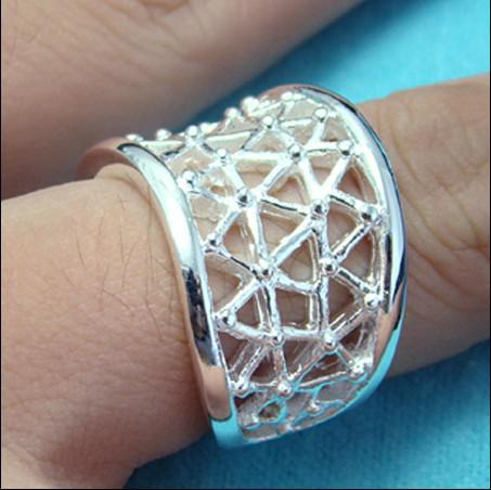 Hot New 925 Srebrna Biżuteria Hurtownie Moda Pierścionki Hollow Darmowa Wysyłka 10piece / Lot