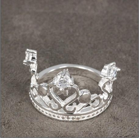 베스트 셀러 925 실버 다이아몬드 왕관 반지 보석 무료 배송 20piece / lot 크리스마스 선물