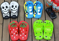 Wholesale Frogs Shoes - 20pcs LINDA LINDA Beach Slippers baby's Summer Shoes skull frog school bus strawberry Sandals