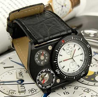 Wholesale Oulm Compass - Rare Mens Oulm Complicated thermograph Watch Men Sport compass Date Multiple Time Zone Watches
