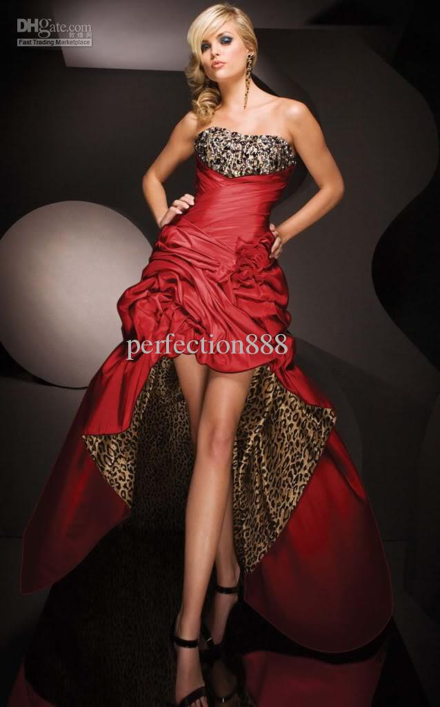 Hot Red Wedding Leopard Evening Dress Prom Gown Formal 6 16 Prom ...