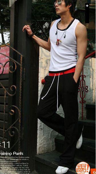 new fashion men casual long sport pants trousers K50 black red gray size S-2XL