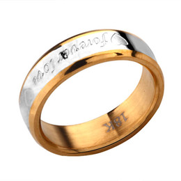 Wholesale 18k Gold Rings Forever Love - 18K best-selling men's stainless steel jewelry ring forever love free shipping 20piece lot