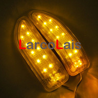 Wholesale Car Mirror Indicators - Amber Double 13 LED Car Soft Turn Indicator Signal Light 12V Rearview Mirror Lights Mix order