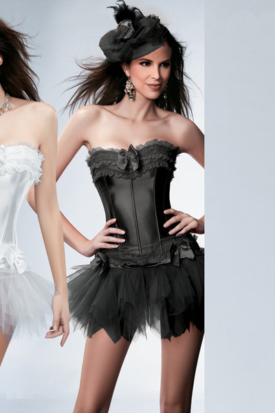 3 Colors! sexy Gorgeous Corset Lingerie Bustier with tutu skirt and thong ,A869