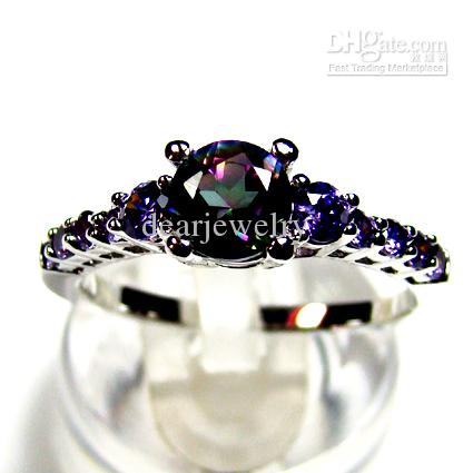 fashion jewelry wedding ring single stone color gem stone rings free 678910 shipping art deco engagement rings anniversary rings from dearjewelry - Colored Wedding Rings