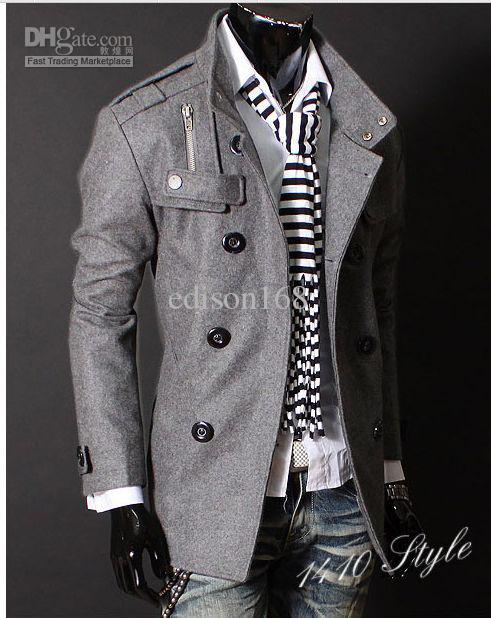 Estilo de lujo ocasional delgado doble del botón chaqueta de la capa de los nuevos hombres de la moda abrigo de hombre Prendas de abrigo Negro Gris Tamaño M-4XL Y002