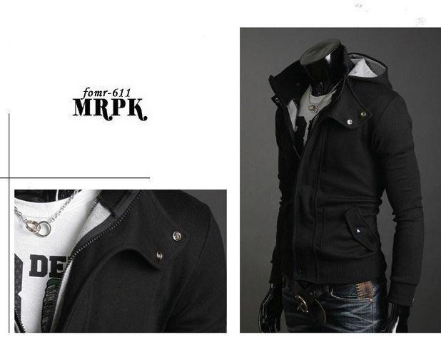 Casual capa de la chaqueta con capucha Cardigan nuevos hombres de la manera del hombre prendas de vestir exteriores 212 Negro Gris oscuro Gris claro