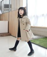 Wholesale Double Hood Jacket - children winter clothes baby girls Double-breasted overcoat children jacket shawls dust coat 1pcs