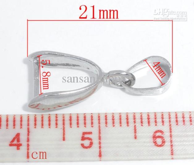 100PCS Silber Ton Prise Clip Bail Perlen Erkenntnisse 9x21mm kostenloser Versand