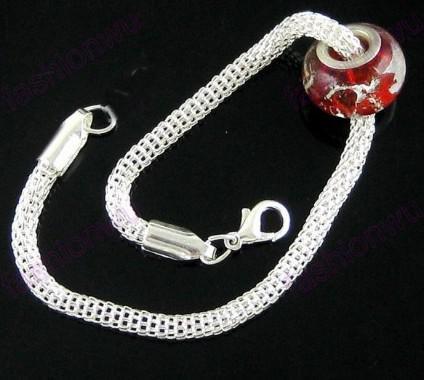 Nieuwe Silver Plate Hollow Mesh Charm Snake Armband Fit Kraal Goedkope Prijs