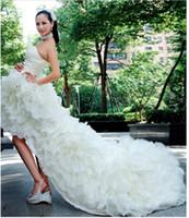 Wholesale Asymmetrical Train Wedding Dress - Free Shipping 2012 BEAUTIFUL Sexy Short Wedding Dresses Bridal Gown Strapless Organza Wedding Dress