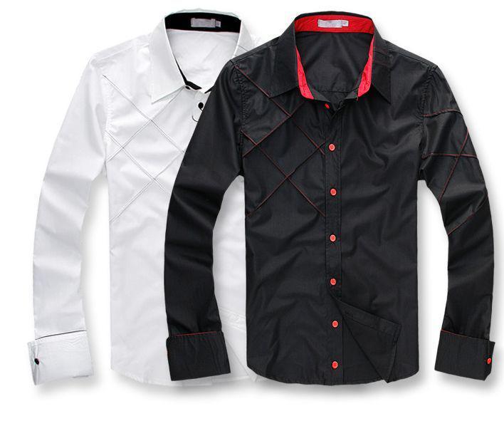 크기 M-3XL 망 캐주얼 슬림 딱 맞는 세련된 긴 소매 아가일 드레스 셔츠 F56 3 색