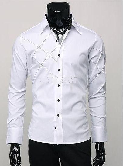 Rozmiar M-3XL Mens Casual Slim Fit Stylowy Długi Rękaw Argyle Sukienka Koszule F56 3 Kolor