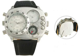 Wholesale Solar Mens Watches - 2012 Style Mens Time Twin Date Oulm Solar Compass Watch Milltary Complicated Watches
