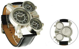 Wholesale Oulm Quartz - Amazing New Style 3 Time Zones Date Oulm Solar watch Army Watches Sport Wristwatch