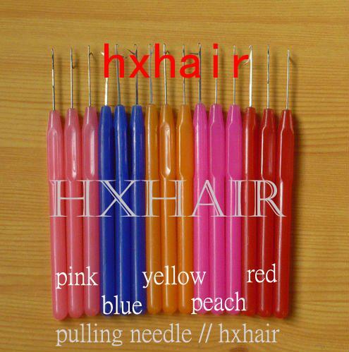 100st plasthandtag som drar nål / mikro ringar / slinga hårförlängningsverktyg