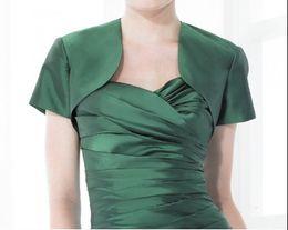 Wholesale Taffeta Black Short Sleeve Bolero - 2016 Free shipping Hot sell wholesale high quality cheap short sleeve wedding evening bolero Bridal jacket
