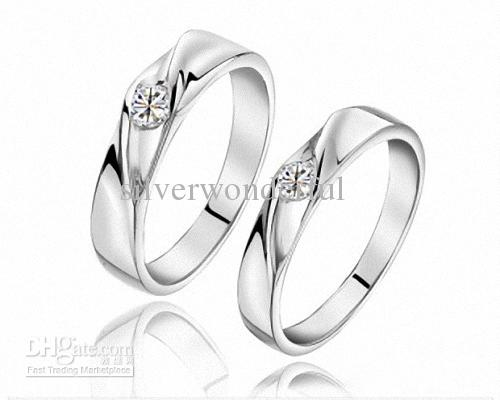 2018 Wholesale Silver Couple Engagement Ring Designs With