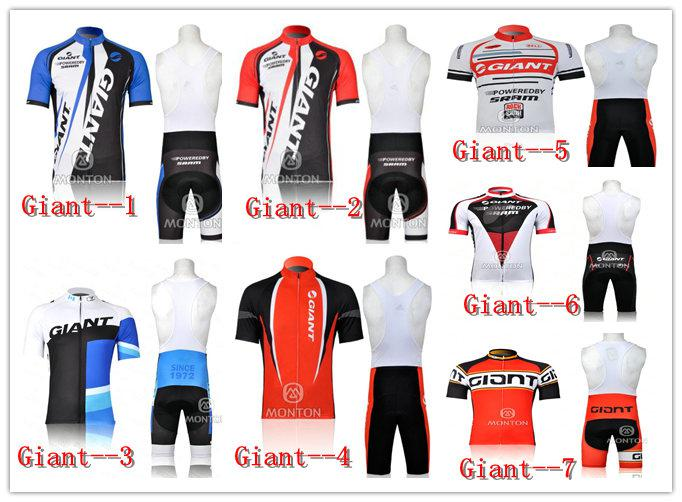 7 Designs Giant Cycling Jersey And Padded Bib Shorts ...