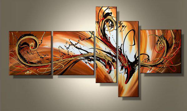 100 hand painted unframed abstract 5 pieces painting wall art canvas home decoration picture on