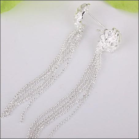 Rose's best-selling 925 silver earrings 7.2cm long fashion free shipping gifts jewelry 20pair