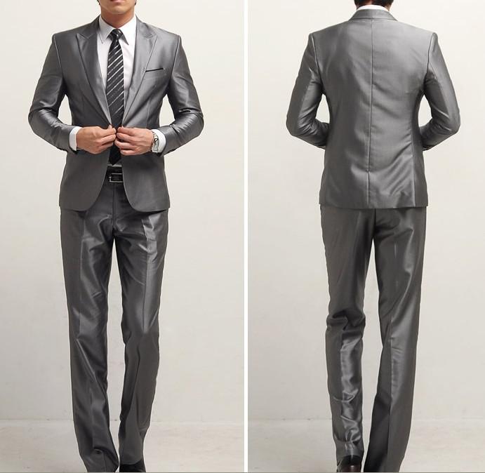 2017 Slim Silver Grey Men's Business Suit Groom's Or Best Man ...