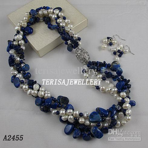 3OWS-5OWS Pearl Halsband Örhängen Smycken Set 7-8mm Pearl Crystal Rhinestone Magnet Clasp A2465B