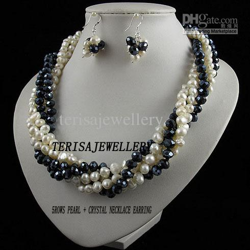 3Rows-5Rows pearl necklace earring jewelry set 7-8MM pearl & crystal Rhinestone magnet clasp A2465b