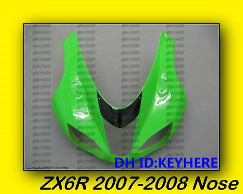 best selling Upper Front Nose for KAWASAKI ZX6R 6R 07-08 2007-2008 Upper Front Nose green color Fairing bodywork,