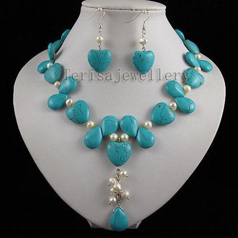I monili del cuore del cuore multicolore della perla bianca del turchese hanno messo i monili della donna della donna di modo Trasporto libero A2509