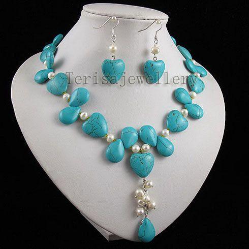 Turkos Vit Pearl Multicolor Heart Smycken Set Mode Kvinna Smycken Gratis Frakt A2509