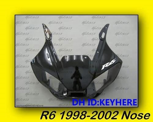 1ps YAMAHA YZF-R6 98-02 1998-2002 Upper Front Nose black Fairing bodywork,Support DIY color