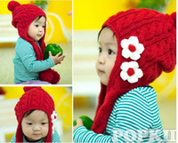 Wholesale Girl Scarf Hat Flower - 2016 New Bonnet winter knitted scarf hat lovely flower hat Cap red children hat 5pcs lot edison168
