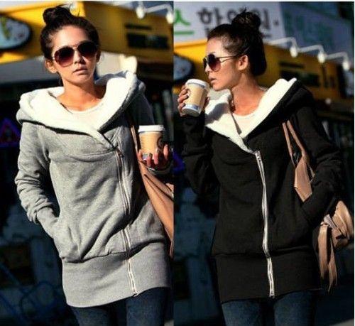 Korea Womens Lady Long Sleeve Hoodie Coat Warm Outerwear Hooded Hot!!
