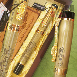 Wholesale Wooden Dragons - JINHAO LEGEND OF DRAGON ROLLER BALL PEN WITH ORIGINAL WOODEN BOX AND BAMBOO SLIP