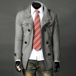 Wholesale Trench Coat Epaulets - hot stand-up collar epaulet peacoat man's overcoat thicken winter warmer trench coats