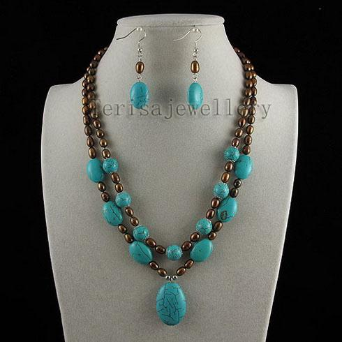 turquoise & brown pearl pendant necklace earring fashion woman's jewelry set free shipping A2516