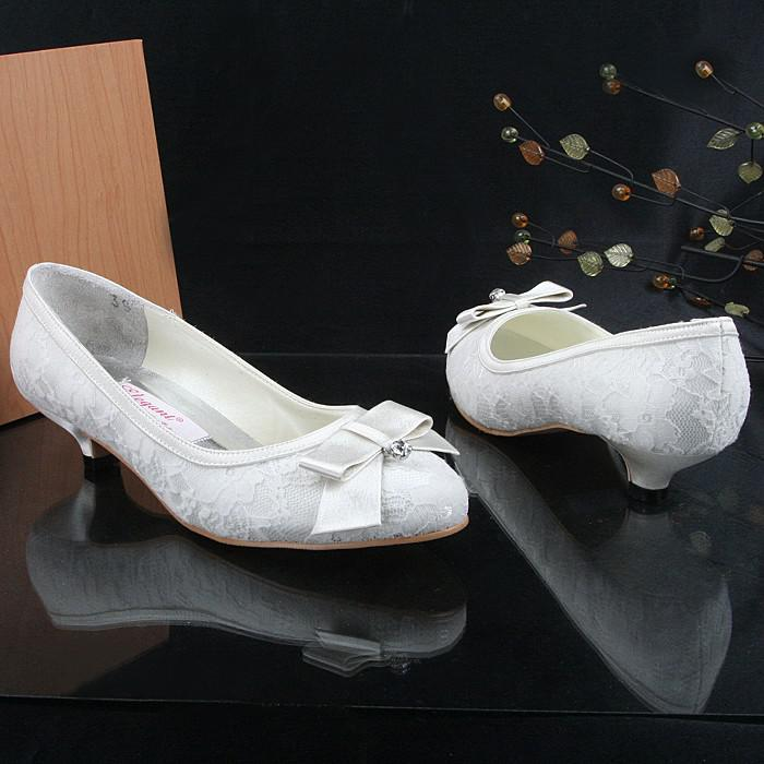 Lace Wedding Shoes Low Heel: Fashion Shoes, White Satin With Overlaid Lace Closed Toe