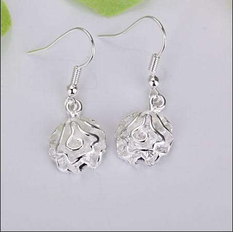 I monili caldi d'argento 925 del regalo di San Valentino degli orecchini della Rosa d'argento 925 liberano il trasporto 20pairs / lot