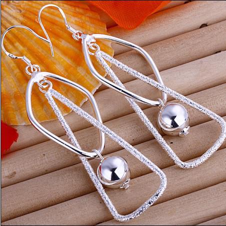 Bästsäljande 925 sterling silver pärla örhängen häng 6,8 cm lång gratis frakt 10pair / mycket