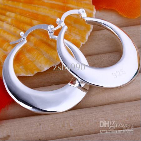 Bästsäljande 925 Silver Hoop Örhängen Mode Smycken Längd 3.1cm Gratis frakt 10Pair / Lot