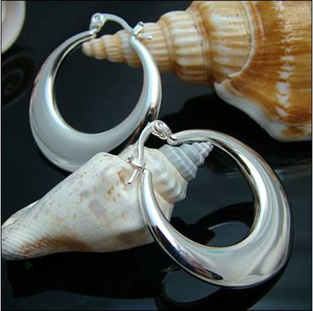 Najlepiej sprzedający się 925 Silver Hoop Kolczyki Moda Biżuteria Długość 3.1 CM Darmowa Wysyłka 10 PARA / LOT