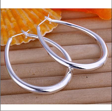 Bästsäljande 925 Silver U-formade Hoop Örhängen 4.5cm Lång Gratis Frakt 10Pair / Lot