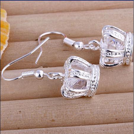 Meistverkaufte 925 Silber Ohrringe Intarsien Stein Krone Länge 2,6 cm Modeschmuck Freies Verschiffen