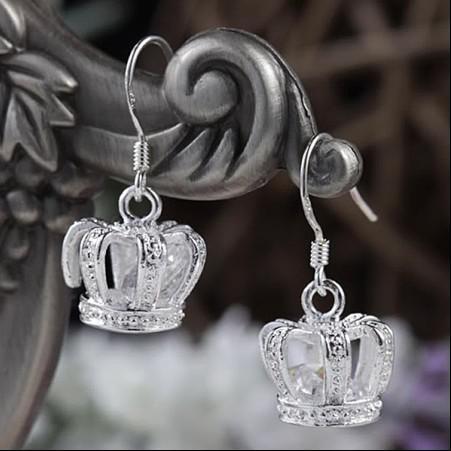 Best-selling 925 zilveren oorbellen ingelegd steen kroon lengte 2.6 cm mode-sieraden gratis verzending