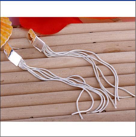 Hot New 925 Silver 11cm Długie Wiklinowe Kolczyki Biżuteria Darmowa Wysyłka 10Pair / Lot