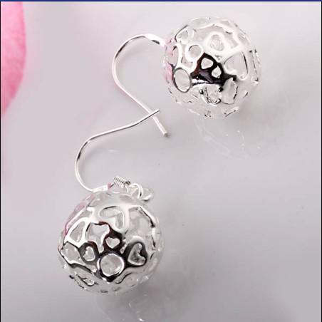 Caliente nueva tridimensional pendientes de bola de plata de ley 925 joyería de moda envío gratis 20 par / lote