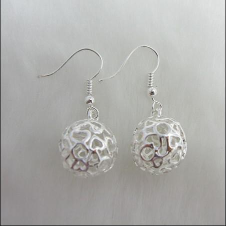 Hot New Trójwymiarowy Kolczyki Ball 925 Sterling Silver Moda Biżuteria Darmowa Wysyłka 20 Pair / Lot